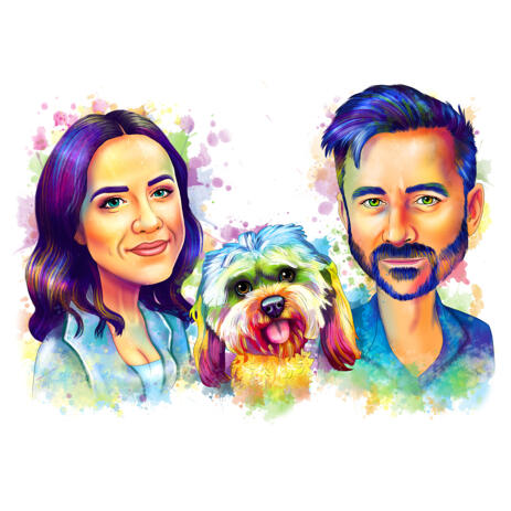 Couple with Pet in Pastel Watercolor Splashes Style from Photos - example