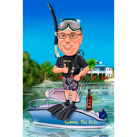 Scuba Diving Person Full Body Caricature with Custom Background from Photos - example