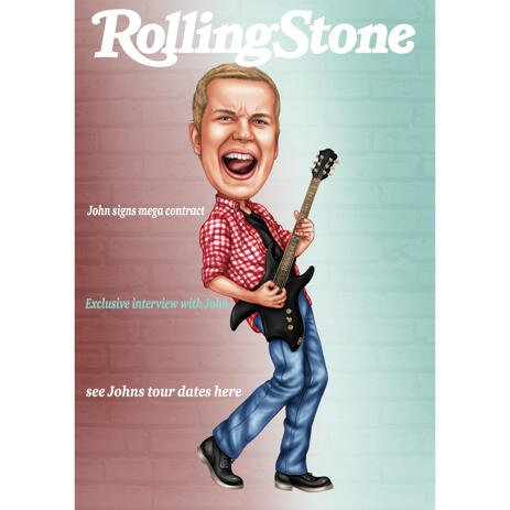 Singer with Guitar Cartoon Caricature Painting for Rolling Stone Magazine Cover - example