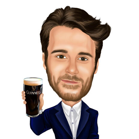 Personalized Colored Style Caricature - Person with Beer Mug for Custom Gift - example