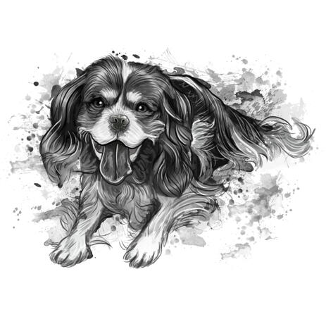 Watercolor Shades of Grey Dog Full Body Portrait from Photos - example