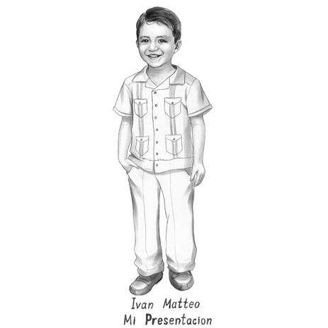 Full Body Kid Portrait from Photos in Black and White Style - example
