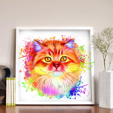 Watercolor Cat Drawing from Photos - 8x8 Poster Print - example