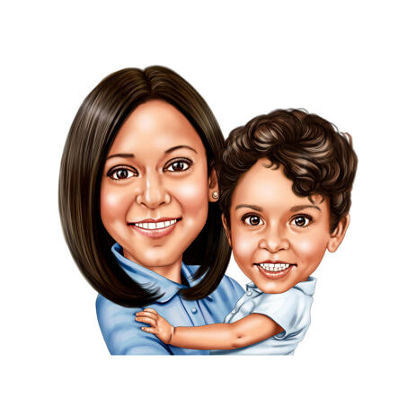 Happy Mother Day Cartoon Portrait - Mom and Kid Together Hand Drawn from Photos - example