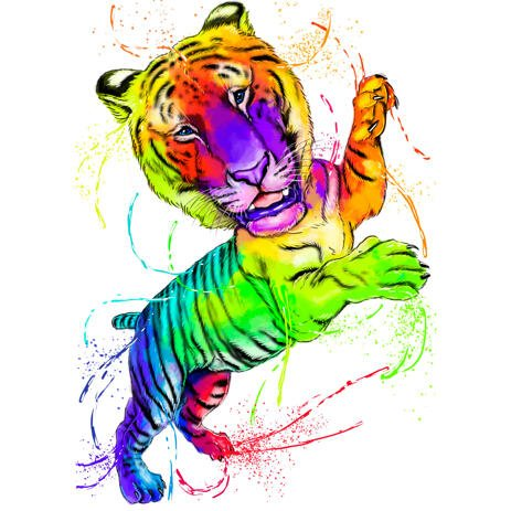 Bright Watercolor Tiger Cartoon Portrait in Full Body Type Rainbow Style - example