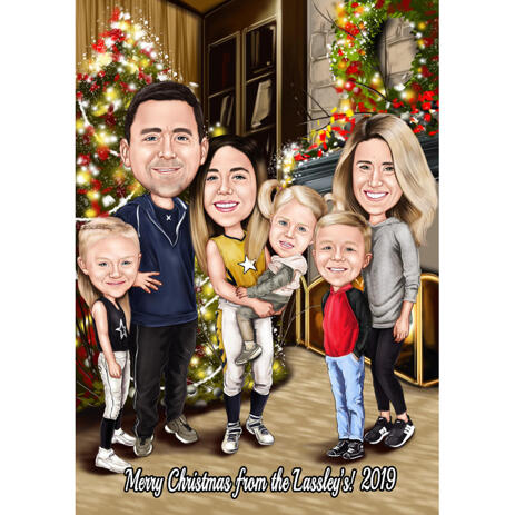 Family Christmas Caricature with Home Background - example