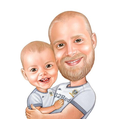 Father with Baby Kid Cartoon Drawing from Photos in Colored Pencil Style - example