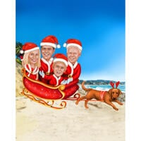 Christmas Family Caricature in Sleigh with Tropical Background