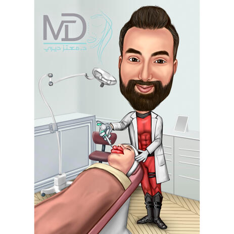 Custom Doctor Caricature Portrait from Photo for Plastic Surgeon Gift - example