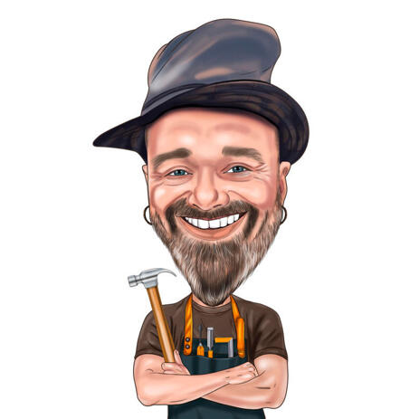 Maintenance Worker with Hammer Caricature Portrait for Custom Construction Man Gift - example