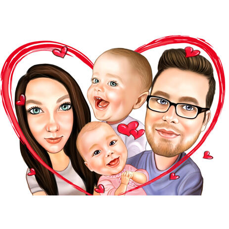 Family and Baby Kids Portrait with Heart from Photos - example