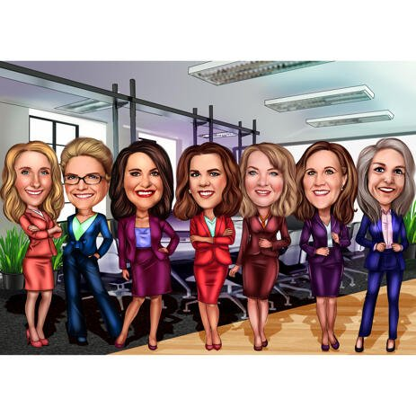 Professional Group Caricature from Photos with Background - example