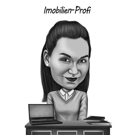 Person in Workspace Black and White Style Caricature from Photos - example