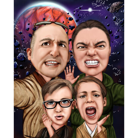 Family Caricature for Star Wars Movie Fans - example