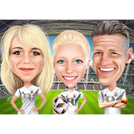 Sport Family Caricature in Colored Style on Custom Background from Photos - example