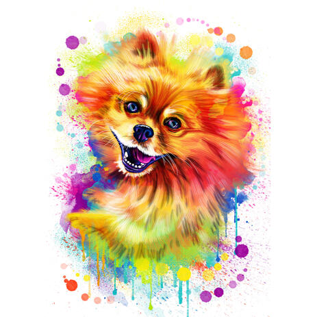 Pomeranian Dog Portrait Cartoon in Rainbow Watercolor Style - example