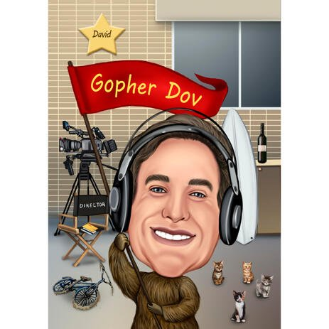 Custom Movie Director Caricature Gift in Colored Style from Photo - example