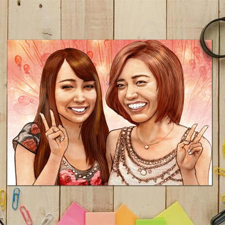 Friends Caricature Portrait from Photos with Colored Background - Print on Poster - example