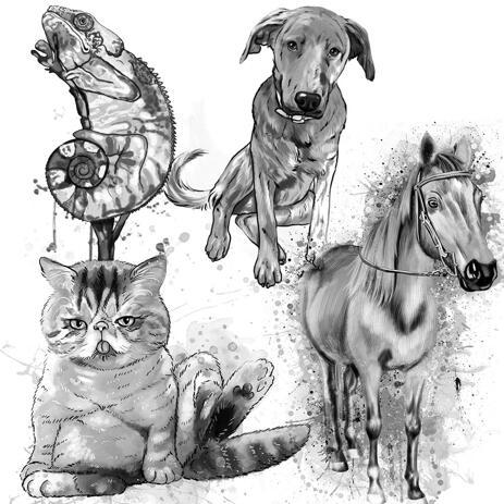 Grafit akvarellporträtt av alla husdjur från hela kroppen - example