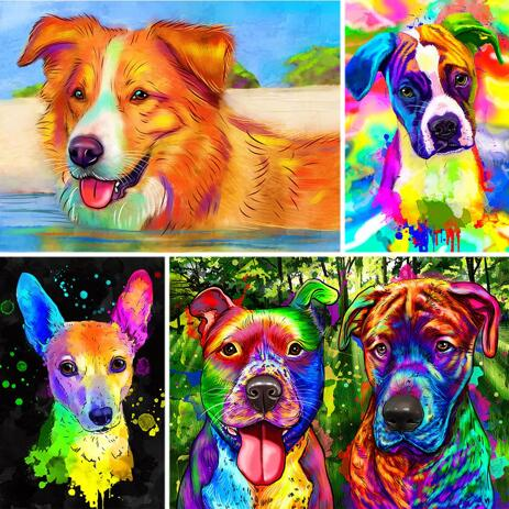 Watercolor Pet Portrait with Colored Background - example