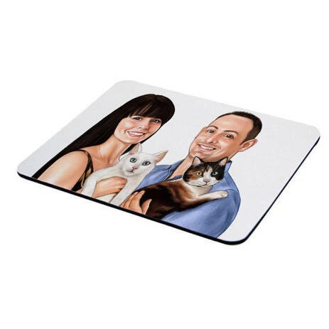 Family with Pets Caricature on Mouse Pad - example
