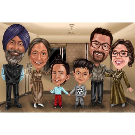 Cartoonized Indian Family Caricature Portrait with Custom Background from Photos - example