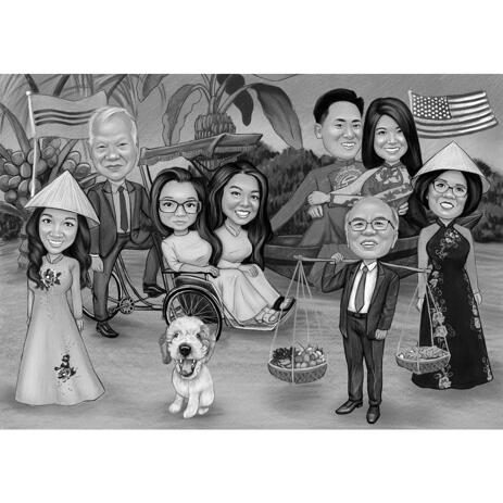 Thanksgiving Family Gathering Caricature from Photos for Custom Thank You Card Gift - example