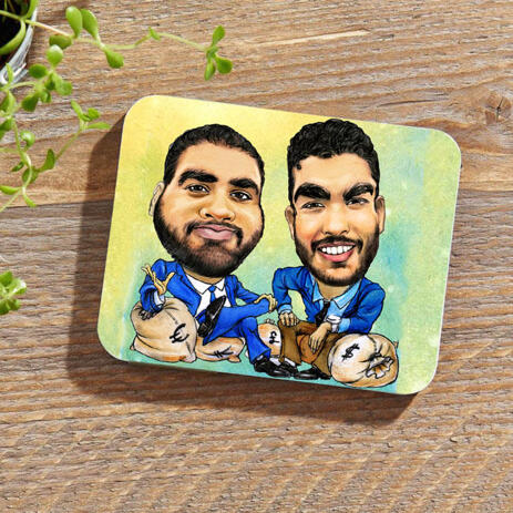 Custom Caricature for Business on Photo coasters - example