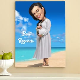 Custom Print on Canvas: Digital Cartoon Drawing from Photo for a Gift