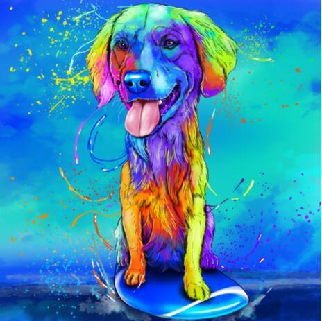Радужный портрет собаки в полный рост с цветным фоном - example