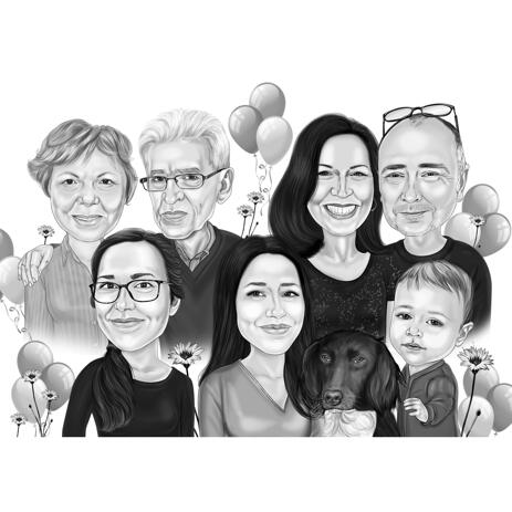 Family Birthday Black and White Style Cartoon Drawing for Grandparent Birthday Gift - example