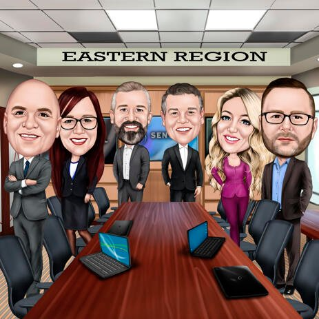 Corporate Group Caricature with Desk and Office Background for Business Colleagues Gift - example