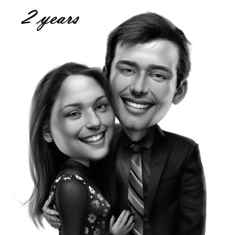 2 Years Anniversary - Couple Caricature Drawing in Black and White Digital Style from Photos - example