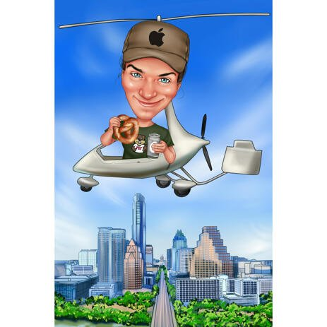 Person in Helicopter Custom Caricature from Photos - example
