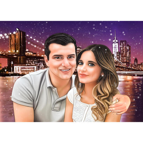 Custom Couple Portrait from Photos with City Background - example
