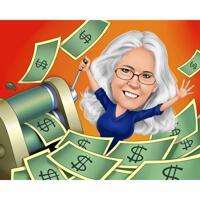 Person som skriver ut pengar karikatyrgåva i färgstil från foton