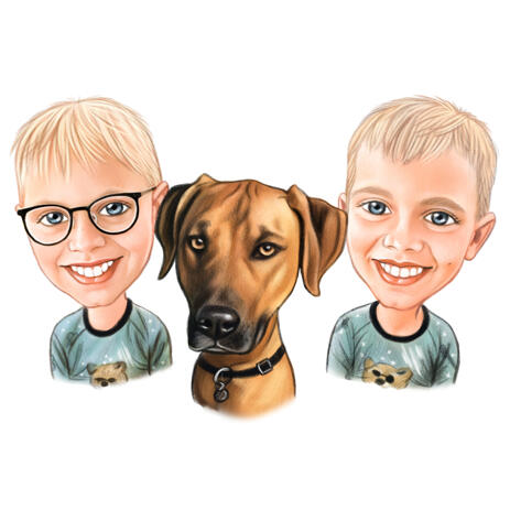 Children with Pets Caricature Portrait from Photos - example