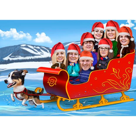 Family or Group Christmas Caricature in Santa's Sleigh - example