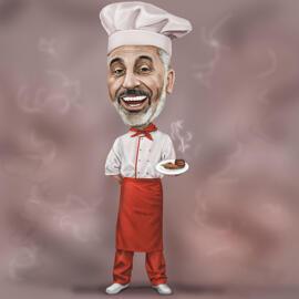 Chef Caricature Desen în stil colorat digital cu fundal de bucătărie