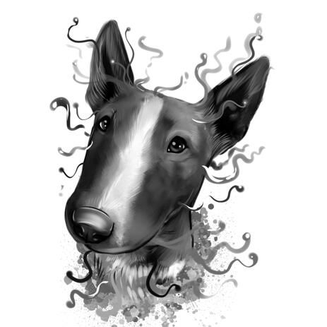 Watercolor Graphite Miniature Bull Terrier Portrait Sketch from Photos - example