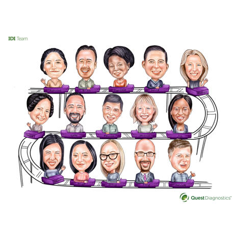 Rollercoaster Corporate Group Caricature Drawing from Photos with Company Logo Mascot - example