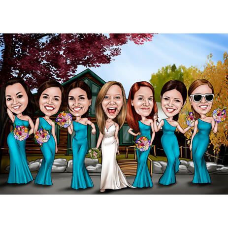 Full Body Bridesmaids Caricature in Color Style with Custom Background - example