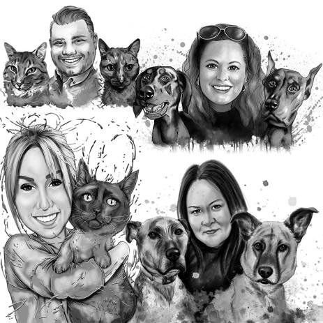 Graphite Portrait for Pet Owner Custom Gift: Hand-Drawn from Photos - example