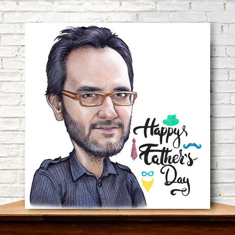 Canvas Caricature Print for Custom Dad Gift on Father's Day - example