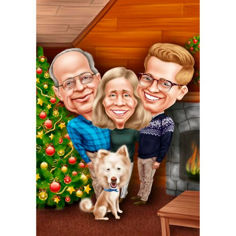 Family Christmas Caricature from Photos - example