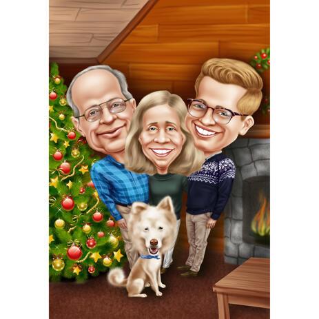 Familienweihnachtskarikatur von Fotos - example