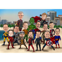 Superhero Boys Group Caricature in Full Body Color Style on Custom Background
