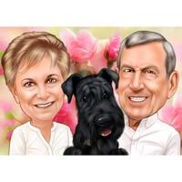 Couple avec portrait de dessin animé de Fox Terrier dans un style coloré pour les propriétaires d'animaux