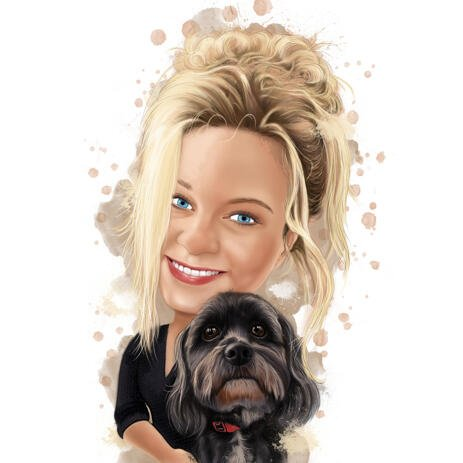 Girl Pet Lover Cartoon Portrait i traditionell naturlig akvarellstilkonst från foton - example