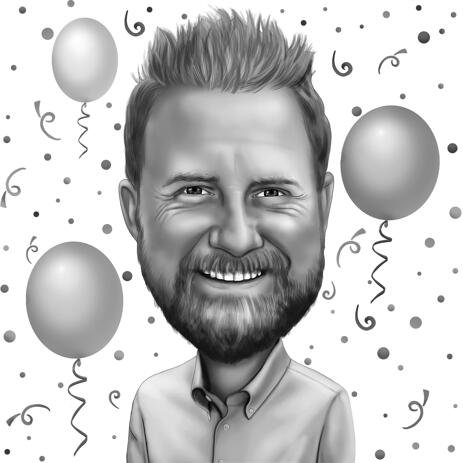 Funny Birthday Cartoon Gift in Black and White Digital Style - example